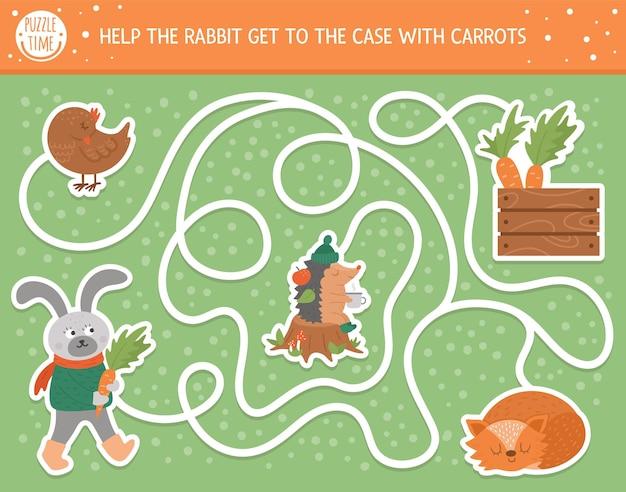 子供のための秋の迷路。就学前の印刷可能な教育活動。かわいい森の動物と面白い秋のシーズンのパズル。にんじんを使ってウサギがケースに入るのを手伝ってください。子供のための森のゲーム。