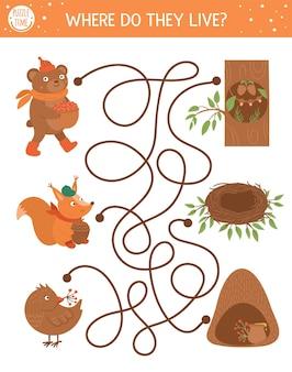 子供のための秋の迷路。就学前の印刷可能な教育活動。かわいい森の動物とその家で面白い秋のシーズンのパズル。彼らはどこに住んでいますか。子供のための森のゲーム。