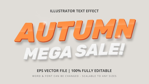 秋のメガセール編集可能な3dベクトルテキストスタイルの効果。編集可能なイラストレーターのテキストスタイル。