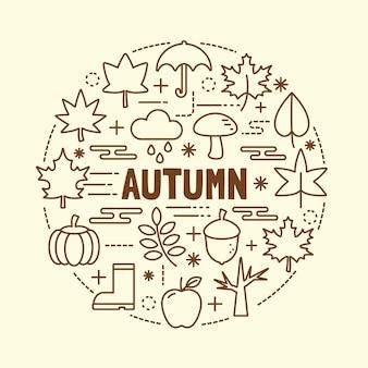 Autumn minimal thin line icons set