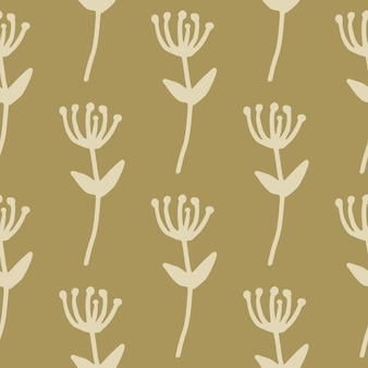 Осенний минималистичный цветочный бесшовный узор с силуэтами ветвей