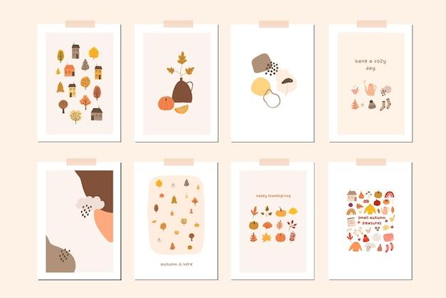 가을 분위기 카드 또는 벽 예술 인쇄 준비 프리미엄 벡터
