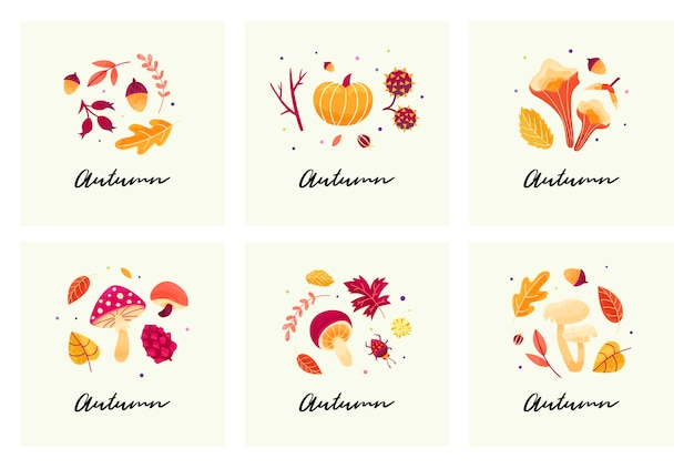 Autumn mood cards with autumn compositions of leaves, mushrooms, twigs, beetles and seeds.