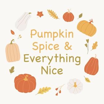 Осеннее настроение дизайн с листьями и тыквами