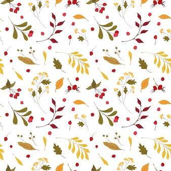 Autumn mood  flat vector seamless pattern.  wind blown, floating yellow oak, maple leaves. fall wildflowers and cranberry.