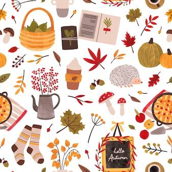 秋の気分手描き下ろしシームレスパターン。秋のシーズンは、テクスチャを属性付けます。伝統的な秋のシンボルの装飾的な背景。葉、植物、食品、暖かい服、ハリネズミのイラスト。