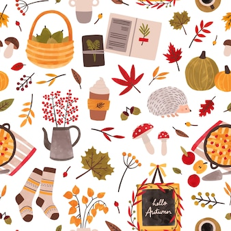 Autumn mood hand drawn seamless pattern. fall season attributes texture. traditional autumn symbols decorative backdrop. foliage, plants, food, warm clothes and hedgehog illustration.