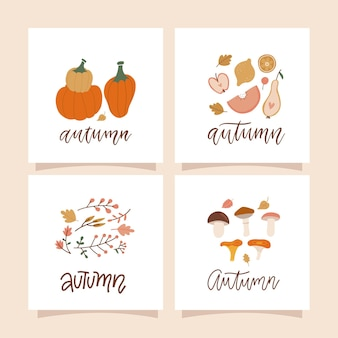 Autumn mood square cards with autumn natural compositions of leaves mushrooms twigs berries and pump...