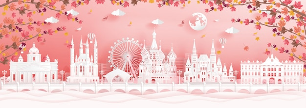 Autumn in moscow, russia with falling maple leaves and world famous landmarks