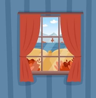 桟橋と湖のある窓からの秋の山の風景の眺め