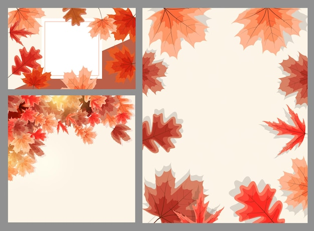 落ち葉と秋の自然な背景テンプレート。ベクトルイラスト