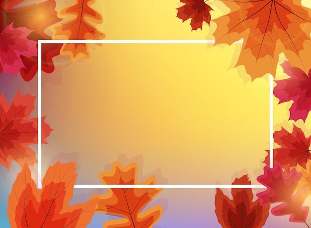 Осенний шаблон естественного фона с падающими листьями.