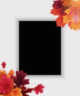 落ち葉と秋の自然な背景テンプレート。
