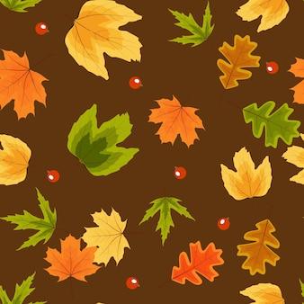 秋の自然の葉のシームレスなパターンの背景。図