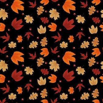 Осенние природные листья бесшовные модели фона. векторная иллюстрация eps10