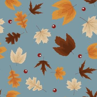 秋の自然の葉のシームレスなパターンの背景。ベクトルイラストeps10