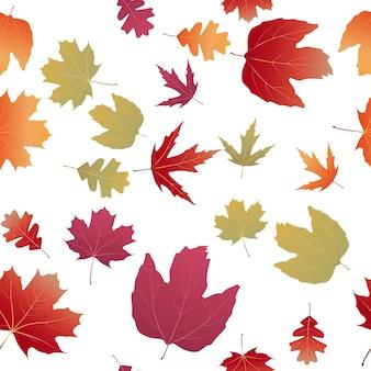 秋の自然の葉のシームレスなパターンの背景。ベクトルイラスト