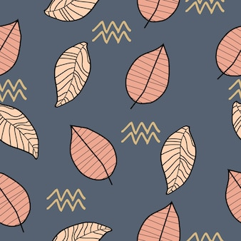 Autumn nature drawing with hand drawn leaves pattern