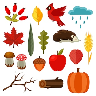 Autumn nature element set flat style elements