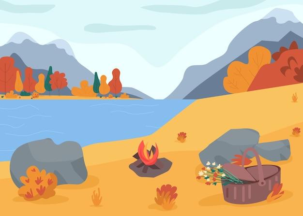 가을 자연 평면 컬러 일러스트입니다. 호수 근처 피크닉. 캠핑과 휴가 휴양. 숲에서 하이킹. 긴장을 풀기 위해 모닥불을 설정하십시오. 배경에 산 가을 2d 만화 풍경