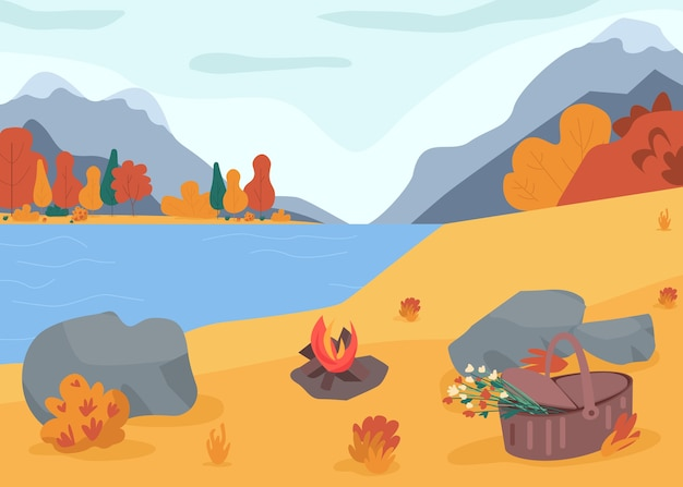 Autumn nature flat color illustration. picnic near lake. holiday recreation with camping. hiking in woods. set bonfire to relax. fall 2d cartoon landscape with mountains on background