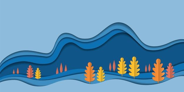 秋の自然風景の背景、木の紙の葉、秋シーズン販売バナー、感謝祭の日のポスター、紙カットアート、ベクトルイラスト。生態学は森林環境保全のアイデアを保存します
