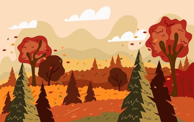 秋の自然の風景グラフィックデザイン手描きイラスト