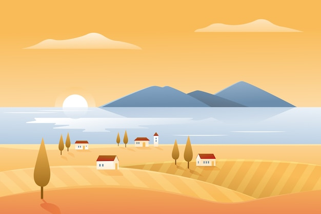 Autumn nature, landscape seashore  illustration. cartoon autumnal countryside scenery with farm village houses on sea shore and yellow fields, beautiful natural coastline seascape background