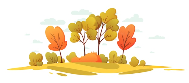 Autumn nature landscape with trees. beautiful landscape cartoon background.