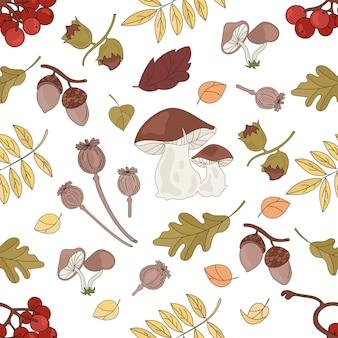 秋の自然のシームレスパターン