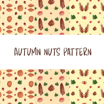 Autumn nuts watercolor pattern
