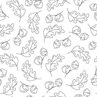 Осенние дубовые листья с желудями бесшовные модели в линейном стиле каракули на белом фоне