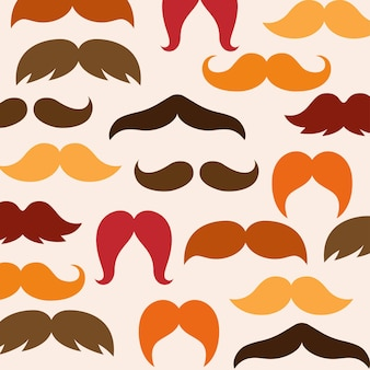 가을 10월 또는 가을 지구 톤 색상 다양한 스타일 콧수염 원활한 패턴