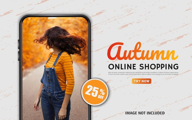 웹 및 소셜 미디어에 대한 가을 온라인 쇼핑 편집 가능한 판매 배너
