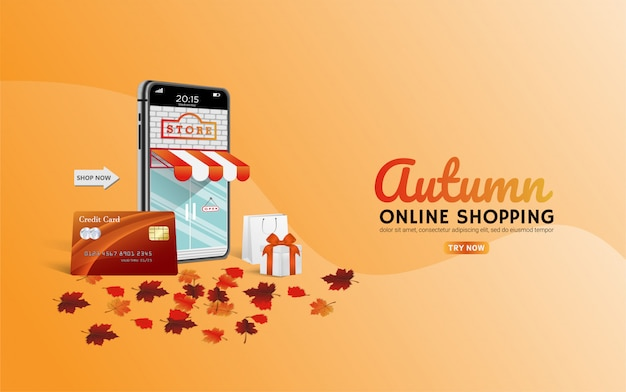 クレジットカードでのウェブサイトやモバイルの概念の秋のオンラインショッピング。