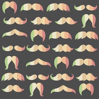 가을 또는 가을 지구 톤 색상 다양한 스타일 콧수염 원활한 패턴