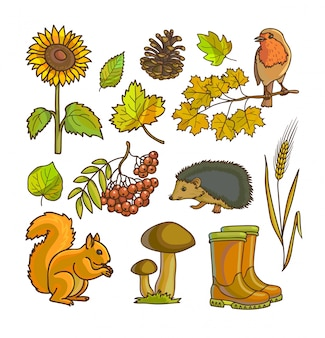 Осень или осень значок и набор объектов
