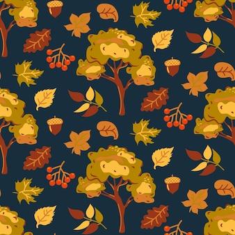 暗い背景のシームレスなパターン秋のオレンジと黄色の葉と秋の木々