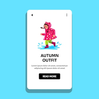 Autumn outfit wearing little girl walk