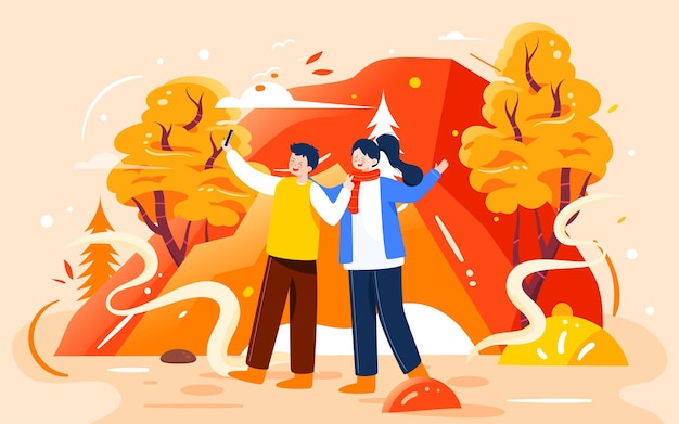 Autumn outing couples illustration autumn characters outdoor activities photo shoot travel poster