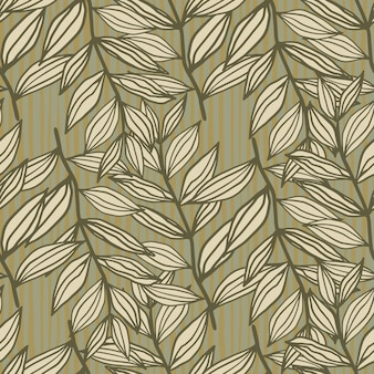 Autumn outline foliage ornament seamless pattern. floral print in beige and brown tones.