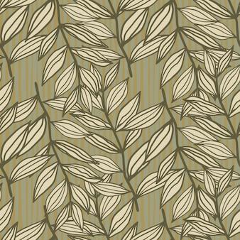 Осенний контур листвы орнамент бесшовные модели. цветочный принт в бежево-коричневых тонах.