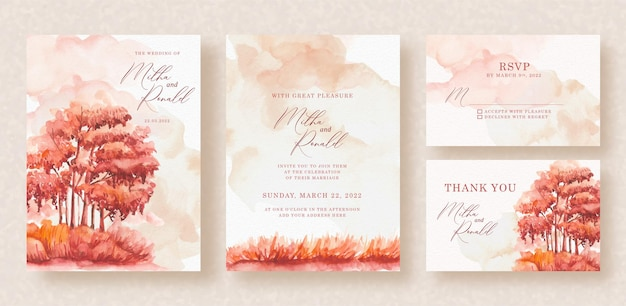 Autumn panorama hand painting on wedding invitation background
