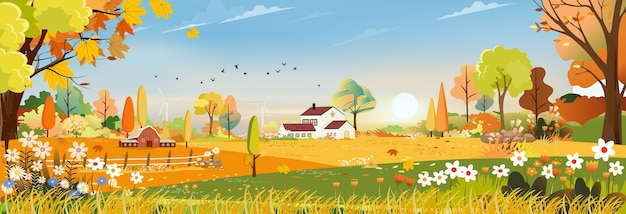 Autumn panorama landscape farm field