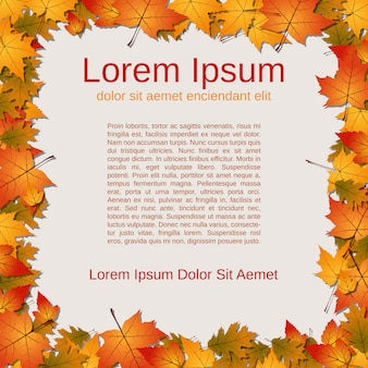 Autumn paper background with colorful leaves frame