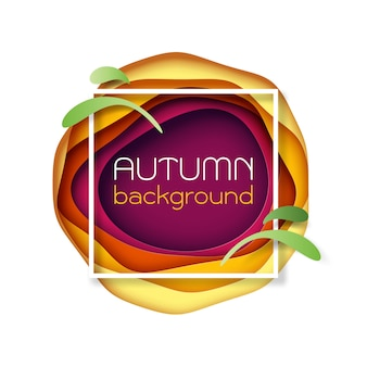 Autumn paper cut abstract background.vector illustration.