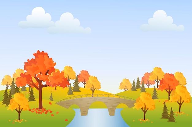 Осенний парк фоновой иллюстрации