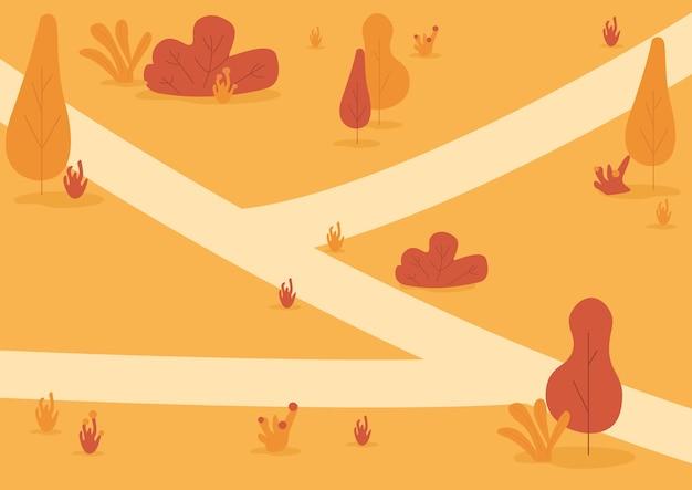 가을 공원 평면 컬러 일러스트입니다. 가을 자연
