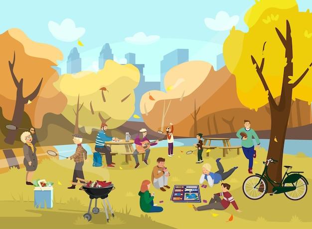 Autumn park scene with people