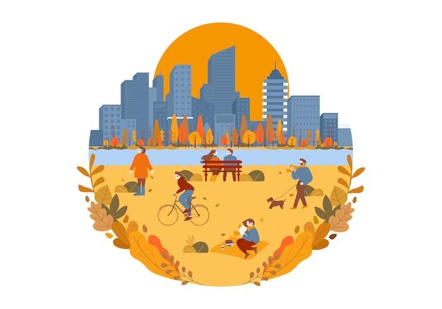 サークルフラットイラストで人々の屋外のさまざまな状況で秋の公園シーズンの背景。秋の公園で歩く漫画人と都市と公園の美しい秋の秋の風景